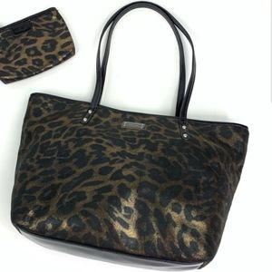 NEW Nine West leopard shimmer metallic tote purse